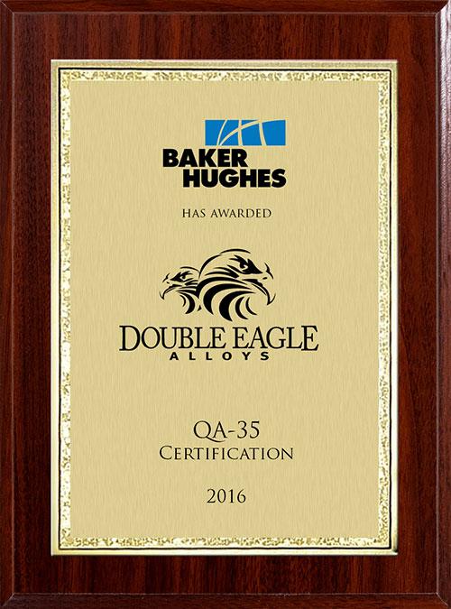Dea Awarded Baker Hughes Qa 35 Certificate Double Eagle Alloys